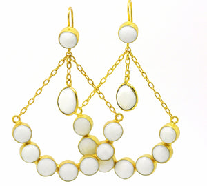 ON SALE Chandelier Earring- White Agate