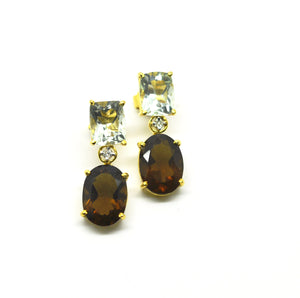 ON SALE Green amethyst and quartz earring