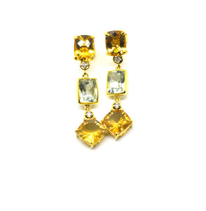 SOLD - ON SALE -  Citrine and green amethyst earring