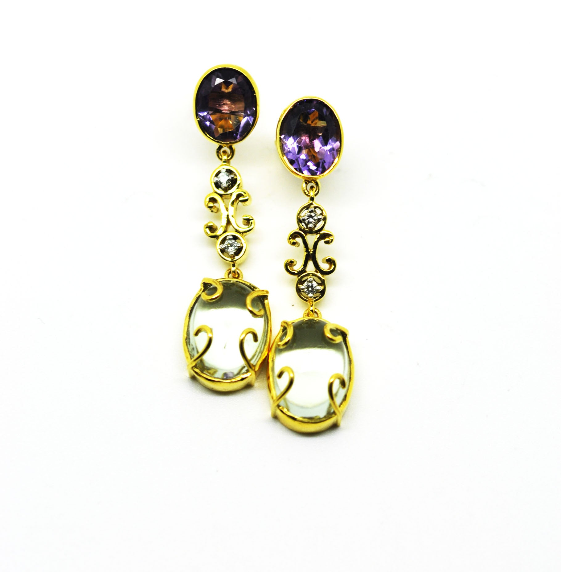 Amethyst and green amethyst  and diamonds earrings