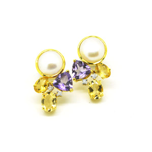 SOLD - ON SALE Pearl, amethyst and citrine earring