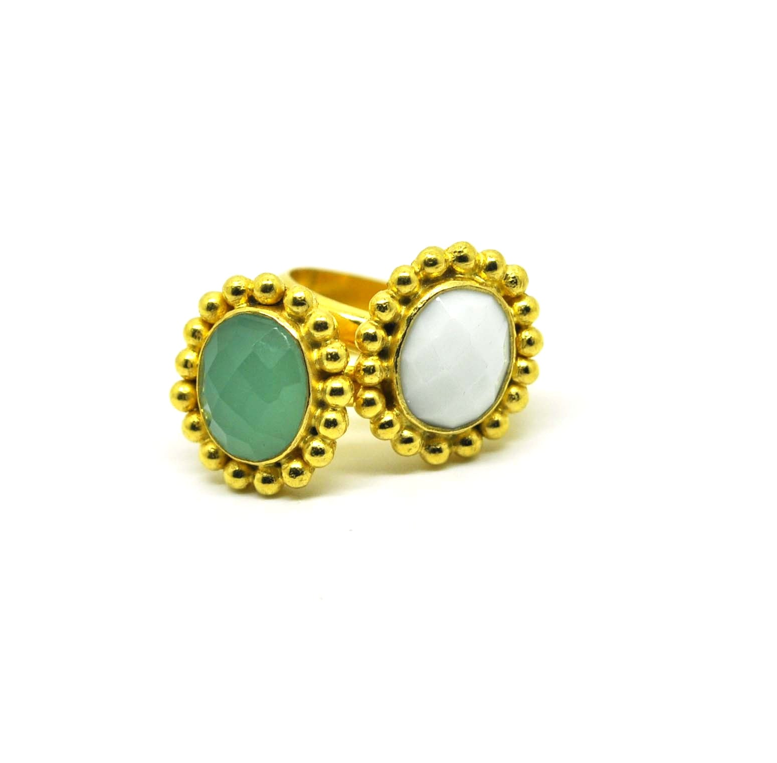 NEW Green chalcedony ring