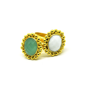 ON SALE Green chalcedony ring
