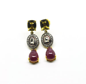 Polki, Ruby and Quartz earring