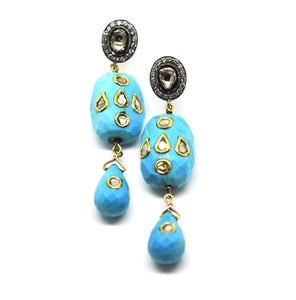 SOLD Polki & Turquoise earrings