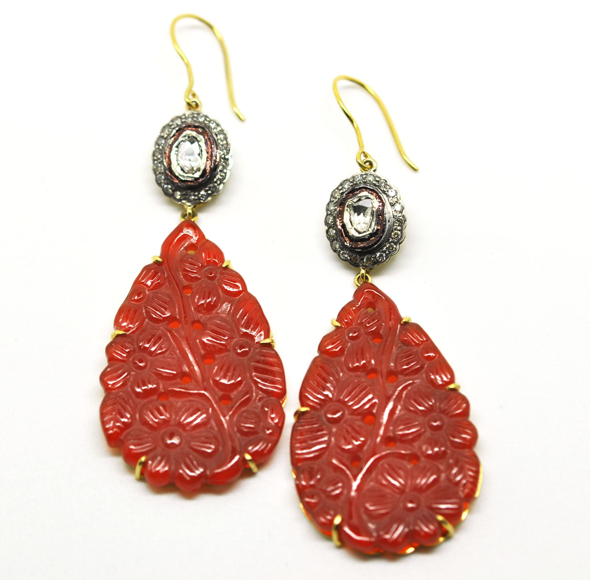 Carved Red onyx and polki