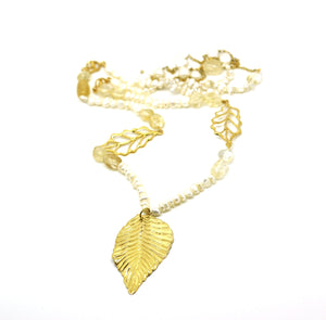SOLD - ON SALE Citrine and Pearl Necklace