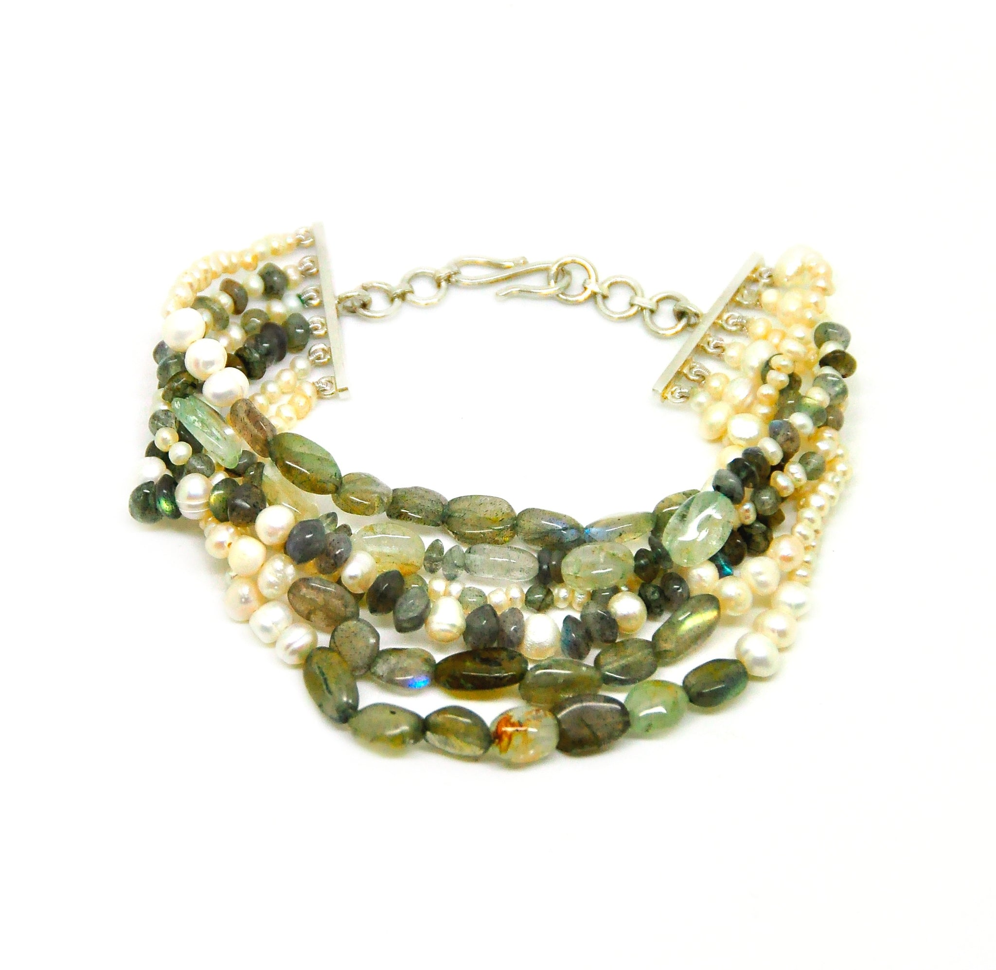 NEW labradorite and pearl bracelet