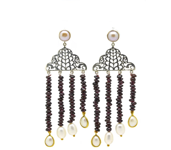 ON SALE Jhaller earring - Garnet