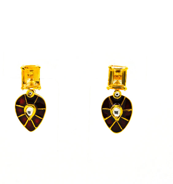 20 in 2020 - Citrine and Kundan earring