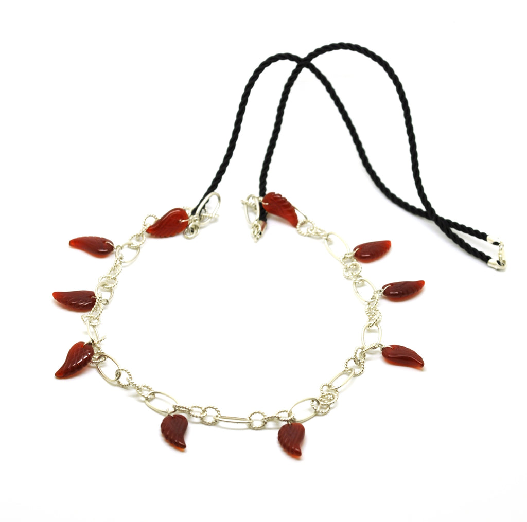 ON SALE Cord and Sterling necklace red