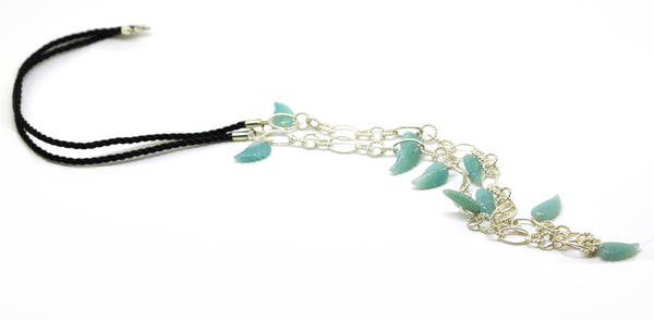 ON SALE Cord and Sterling necklace Blue