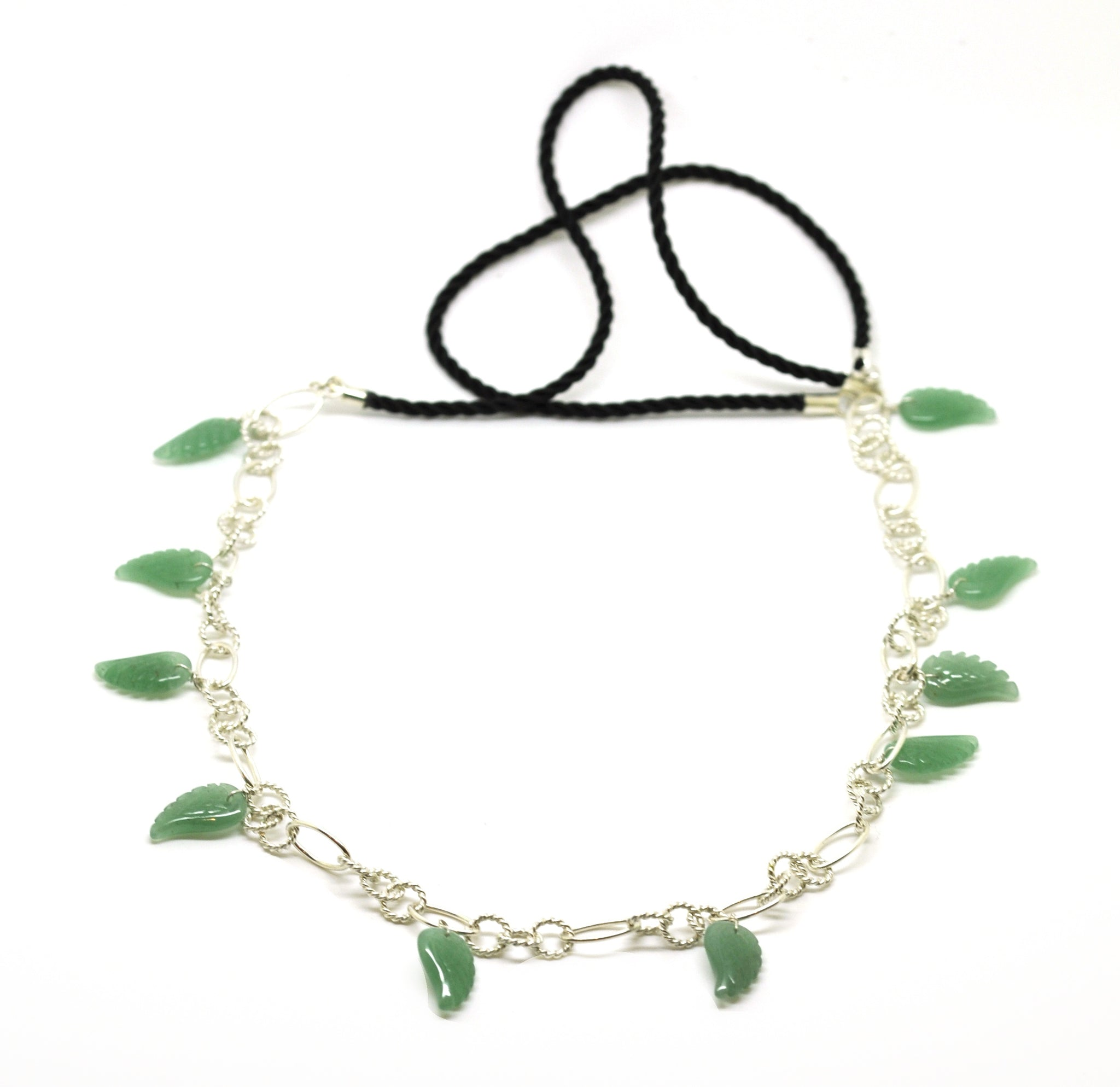 ON SALE Cord and Sterling necklace green