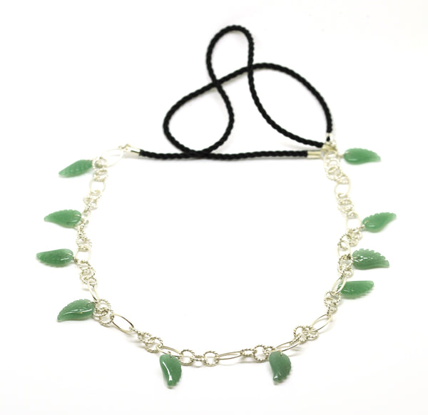 ON SALE Cord and Sterling necklace green (Clearance)