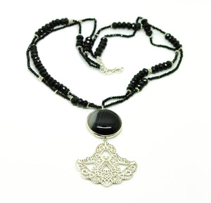 NEW Gemstone and Filigree necklace - Black onyx
