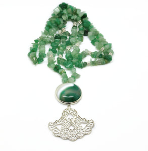 NEW Gemstone and filigree necklace - Aventurine