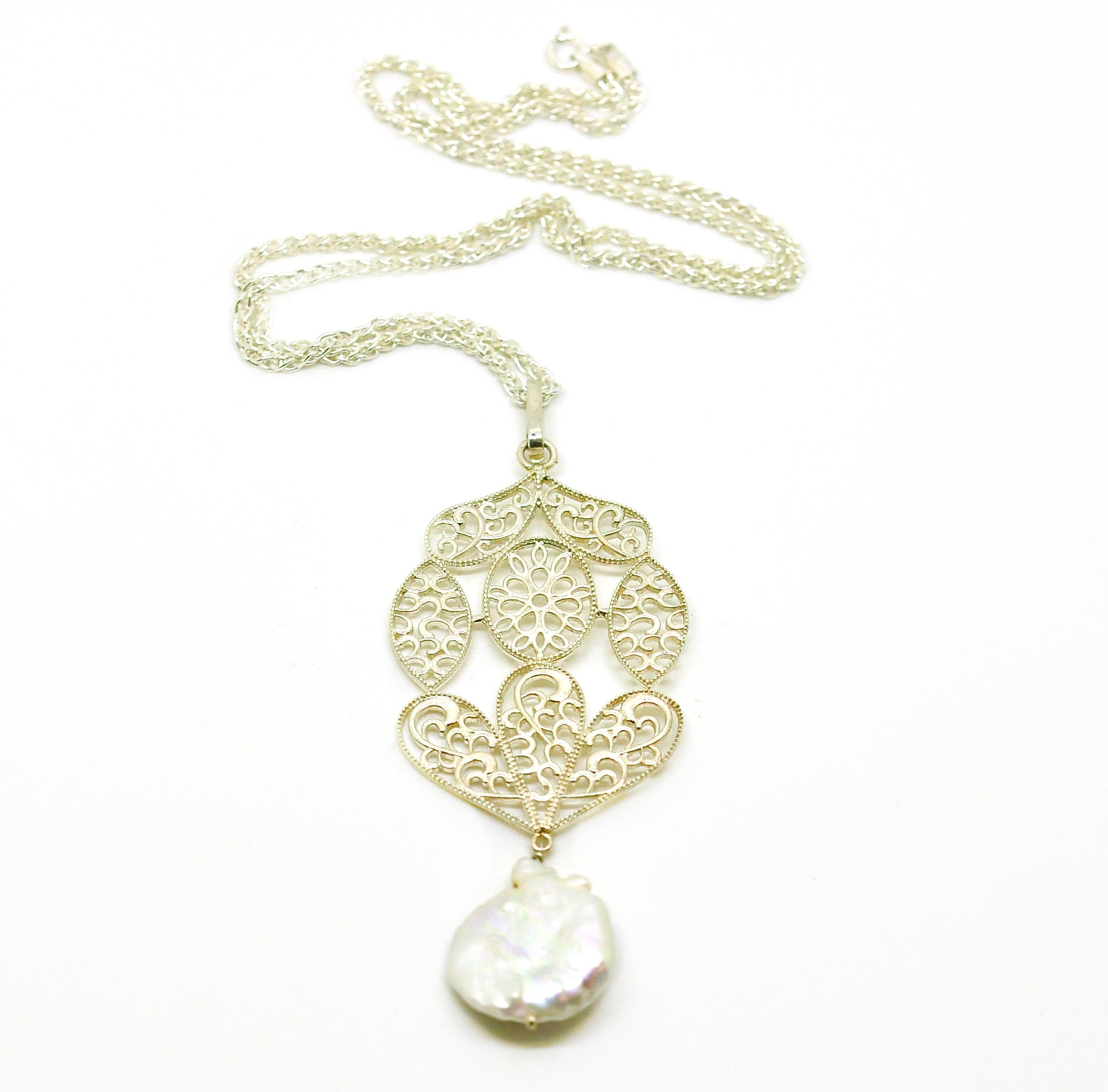 NEW Baroque pearl filigree pendant