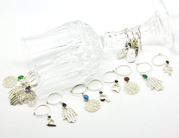 SOLD  - Sterling Silver Wine Glass Charm Set 4 - Round