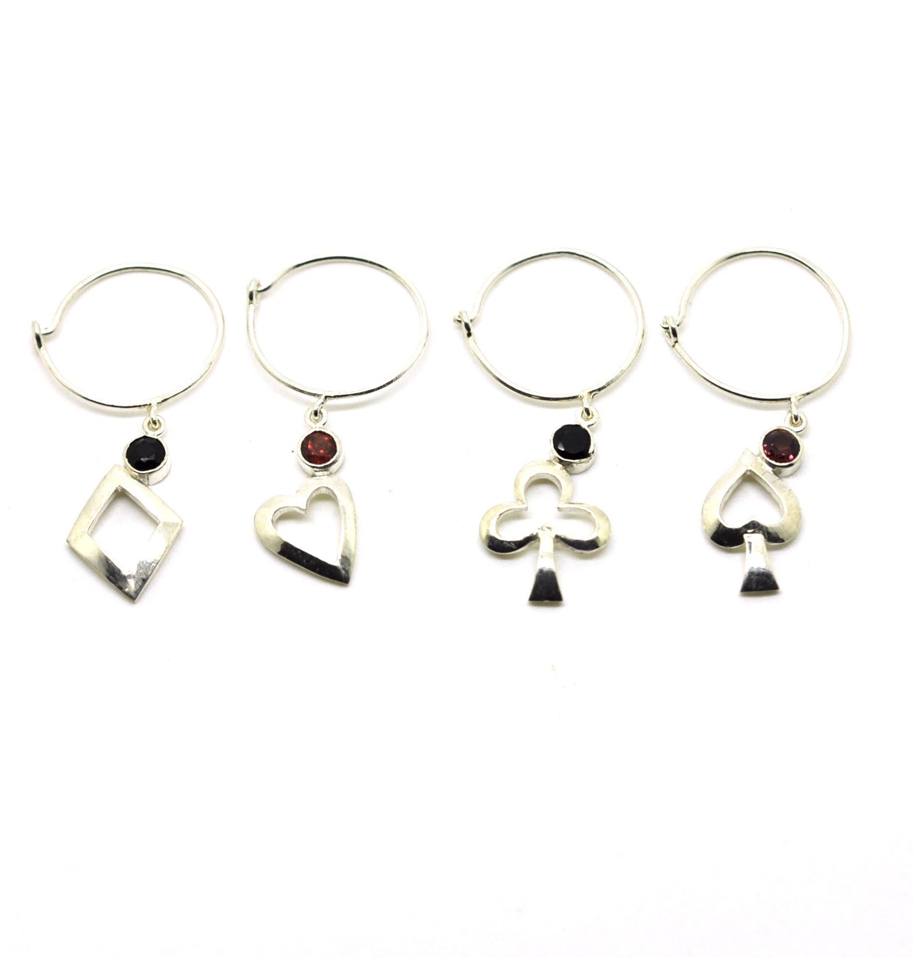 Sterling Silver Wine Glass Charm Set 4 - Card Suits