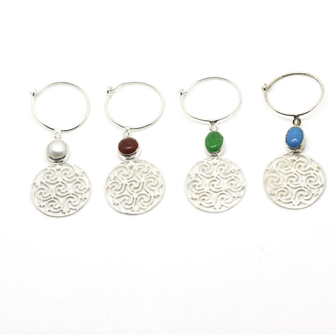 Sterling Silver Wine Glass Charm Set 4 - Round