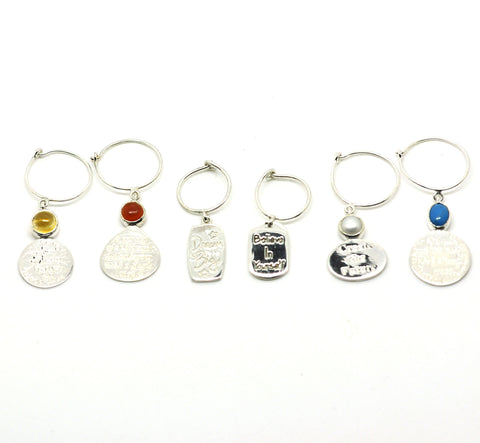Sterling Silver Wine Glass Charm Set 6 - Quotes