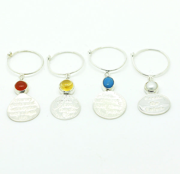 Sterling Silver Wine Glass Charm Set 4 - Quotes
