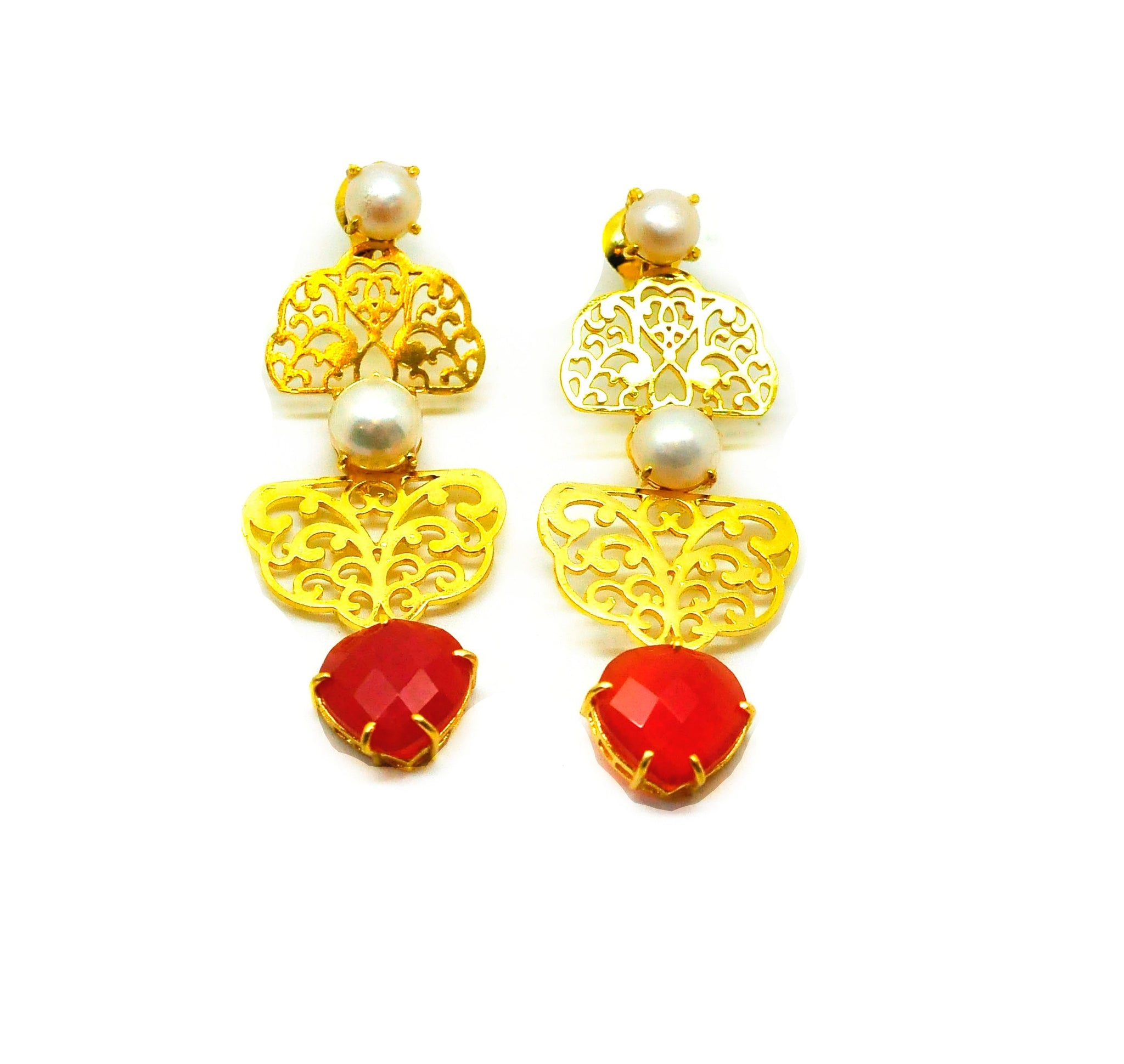NEW Filigree gemstone earring 2