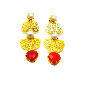 ON SALE Filigree gemstone earring 2