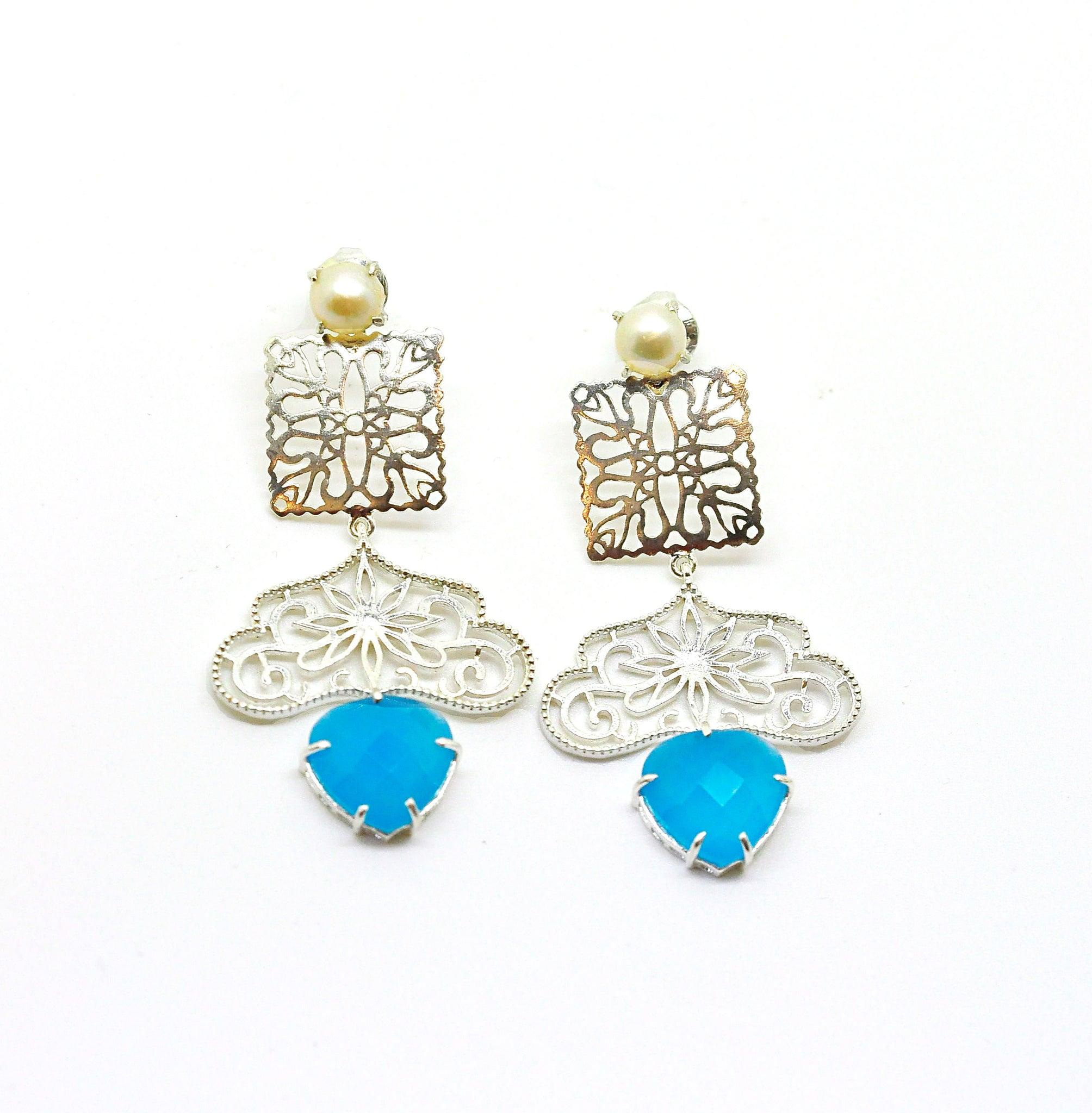 ON SALE Filigree gemstone earring 4