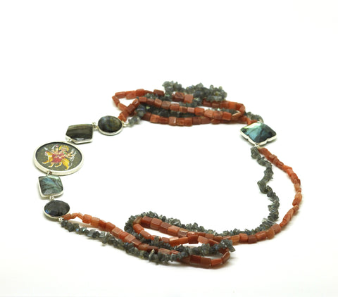 "ON SALE Moonstone and Labradorite ""Mata"" necklace"