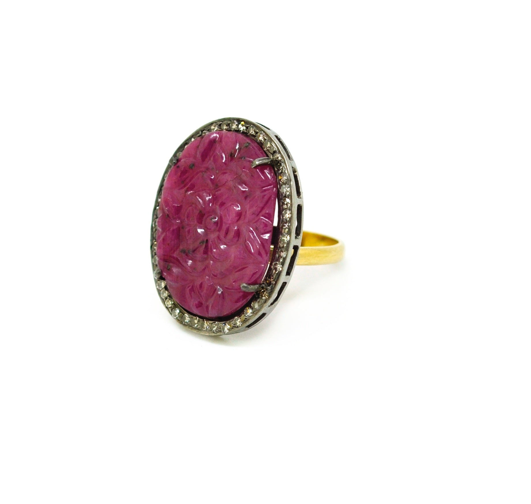 SOLD - NEW Carved Ruby ring