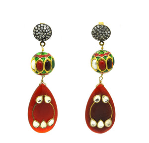 ON SALE Red onyx and Zircon ethnic
