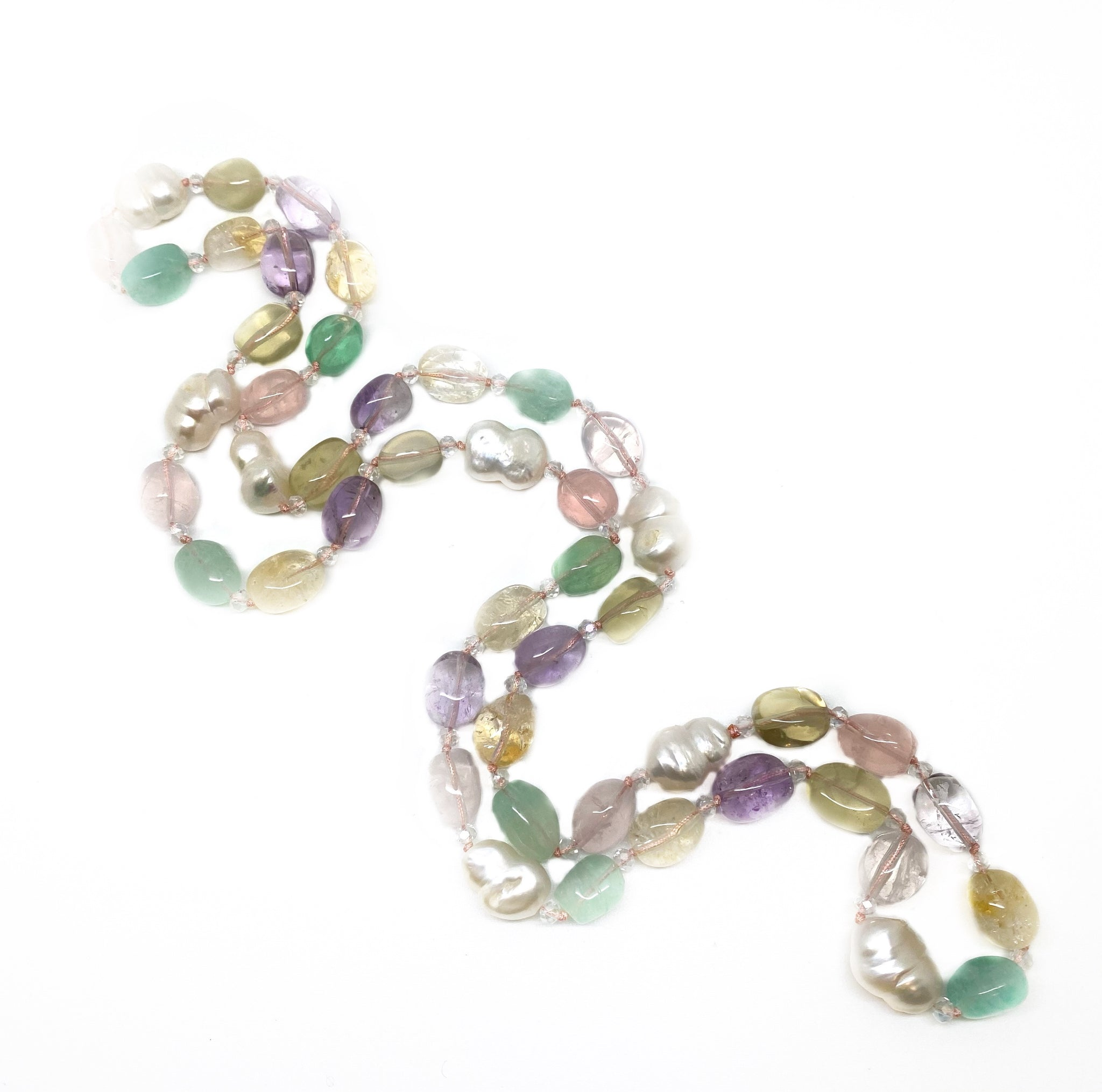 NEW - Mixed gemstone and Baroque pearl necklace