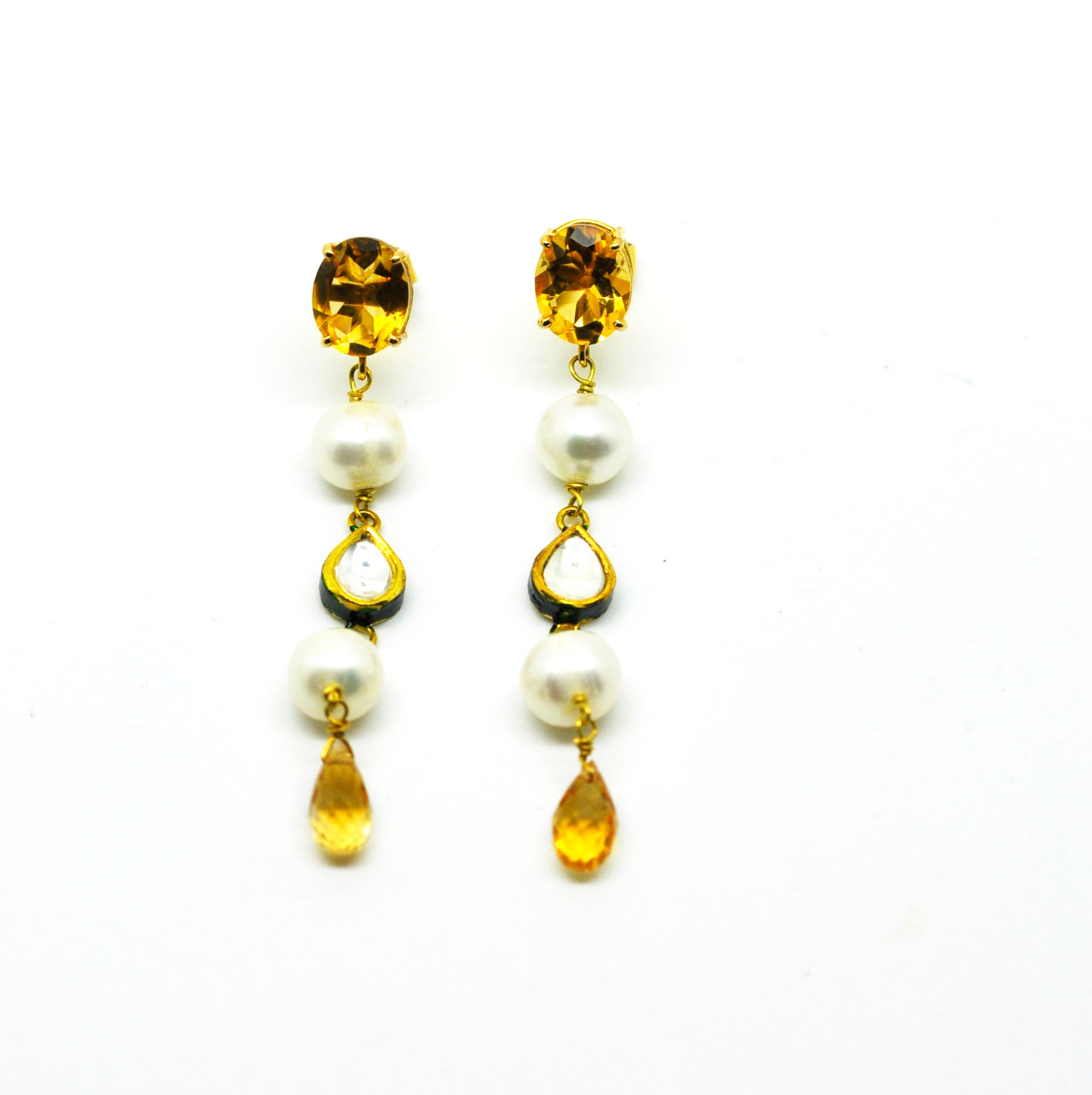 ON SALE Citrine and kundan earring (clearance)