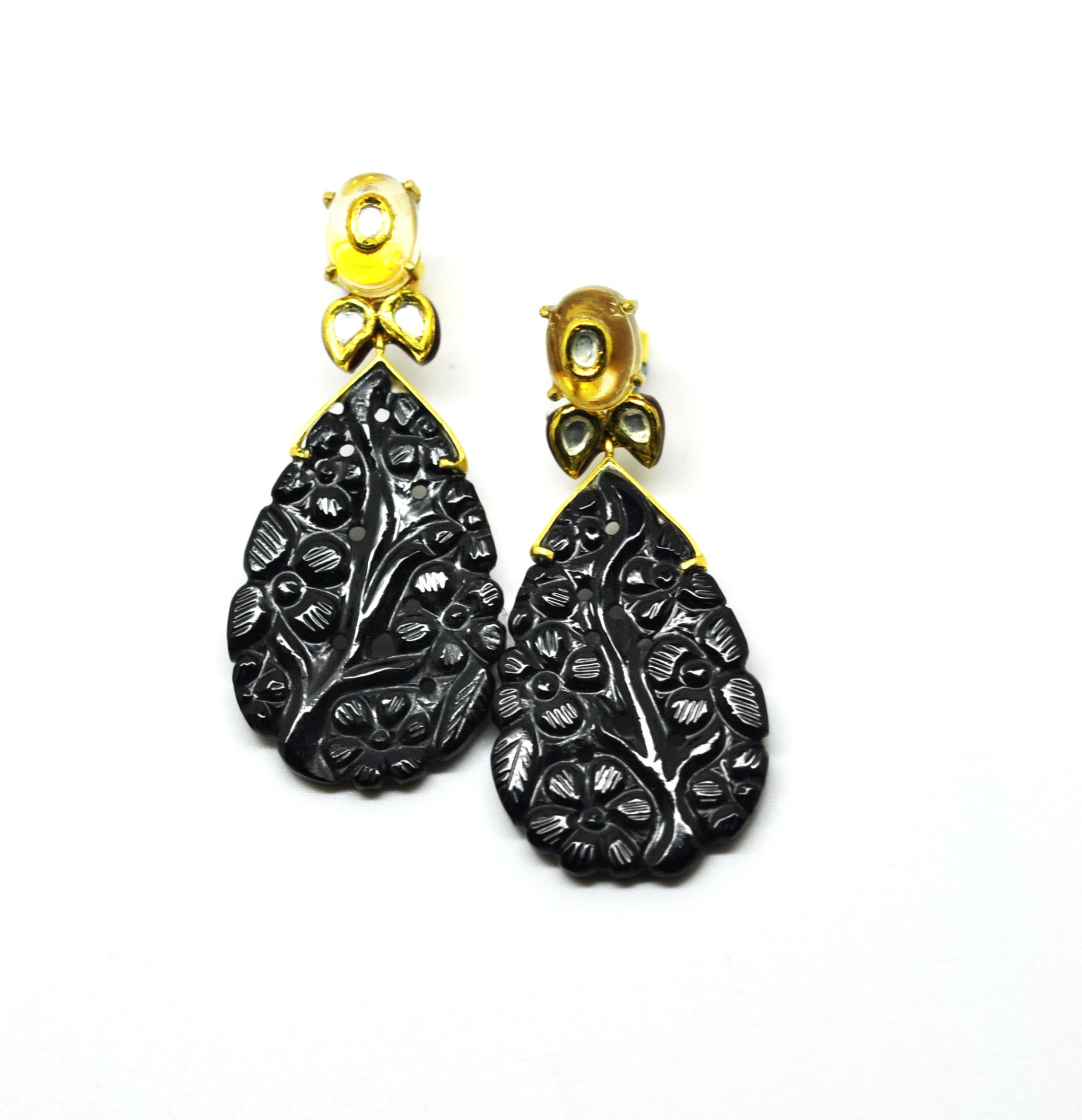 ON SALE - Carved Black onyx and Citrine
