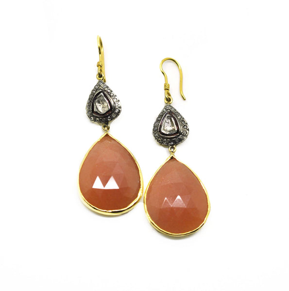 Sunstone polki earring