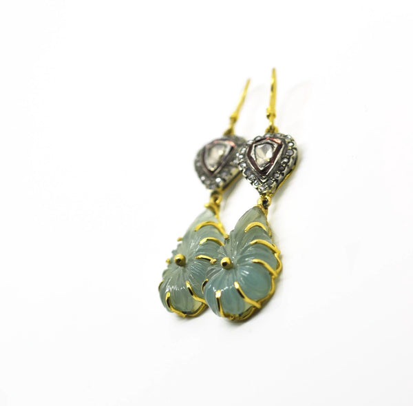 Carved onyx & polki earring