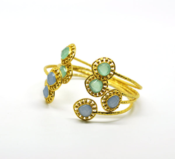 ON SALE-Blue chalcedony gold plated (CLEARANCE)