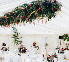 Wilde Thyme. Wedding florist. Wedding flowers. Ceiling installation. hanging garden. Marquee wedding. Matt Porteous Wedding photography