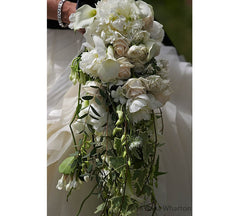 Wilde Thyme Wedding florist. Wedding flowers. Bridal bouquet waterfall. Peonies. Dasa Wharton