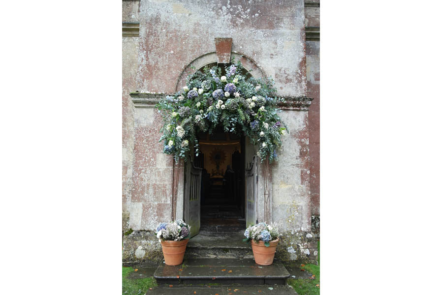 Wilde Thyme destination wedding flowers, wedding florist, Arch Babington House Chapel