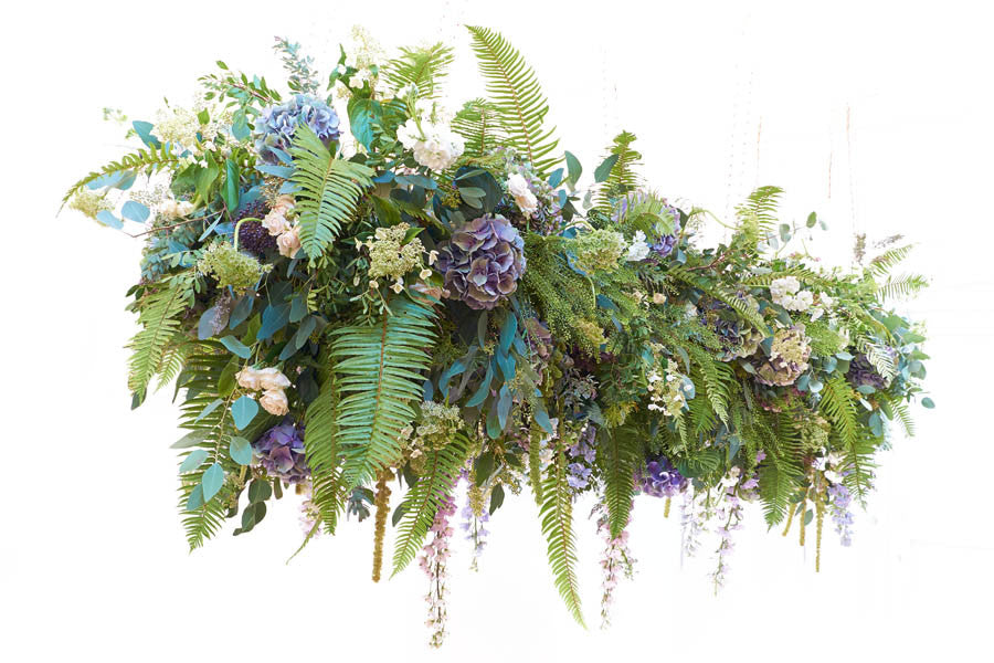 Wilde Thyme destination wedding florist wedding flowers ceiling installation.  hanging garden