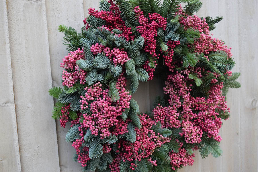 Wilde Thyme Event florist Christmas decor . Peppercorns and pine