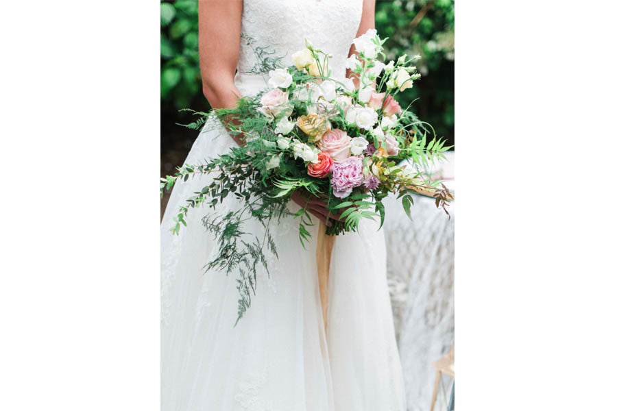 Wilde Thyme Destination wedding florist wedding flowers. bridal bouquet Peonies