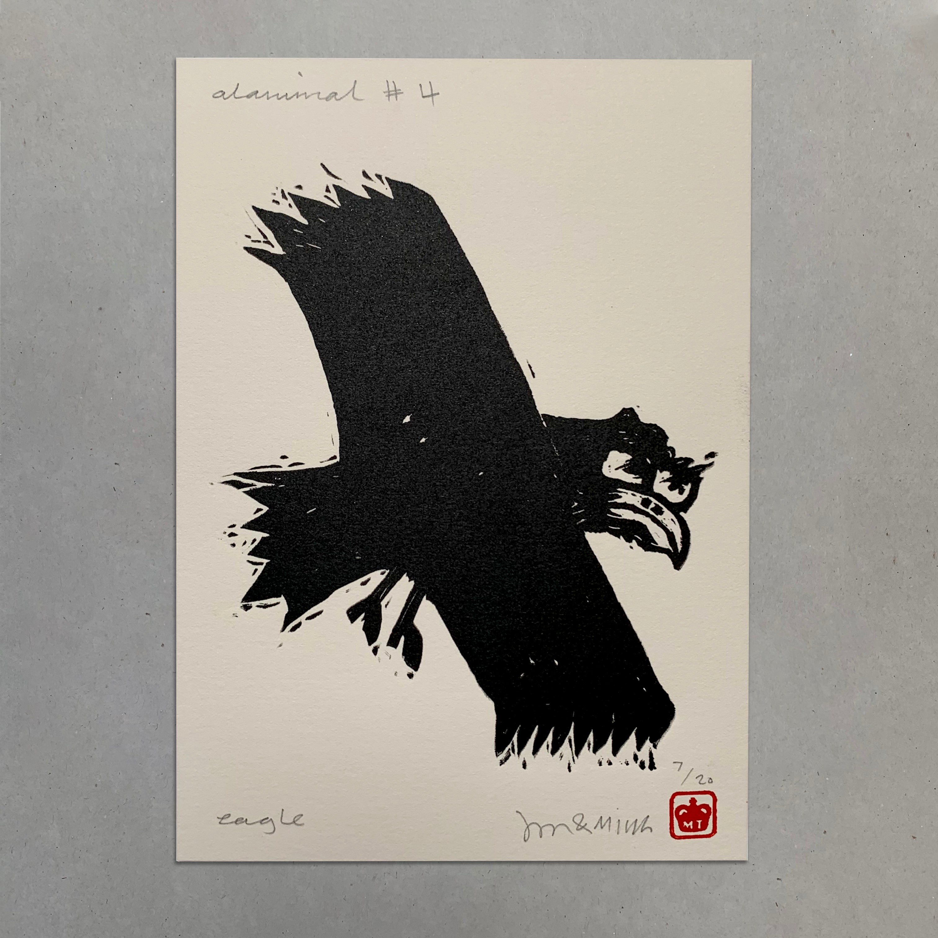 Alanimals- Eagle Lino Print