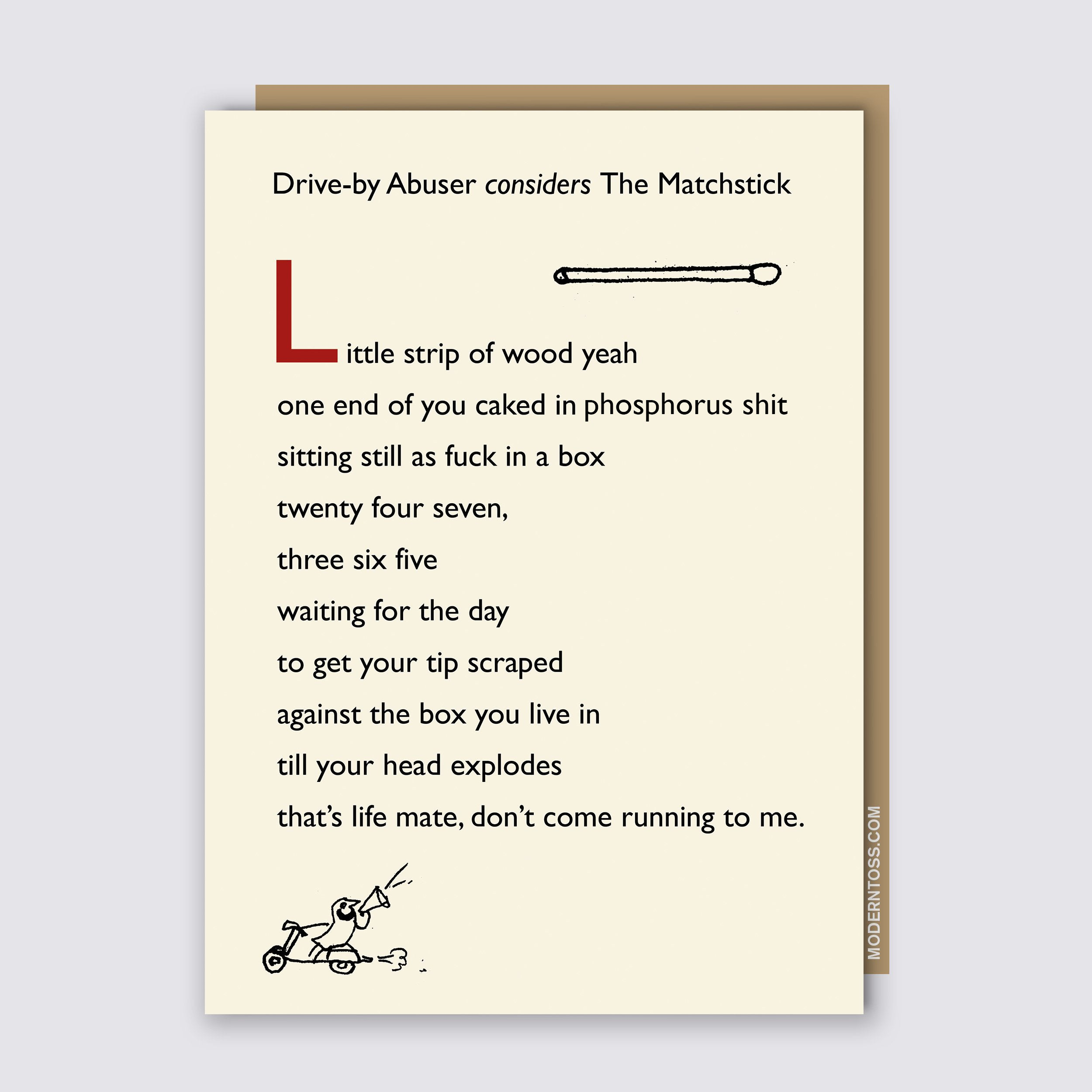 Drive By Matchstick Card