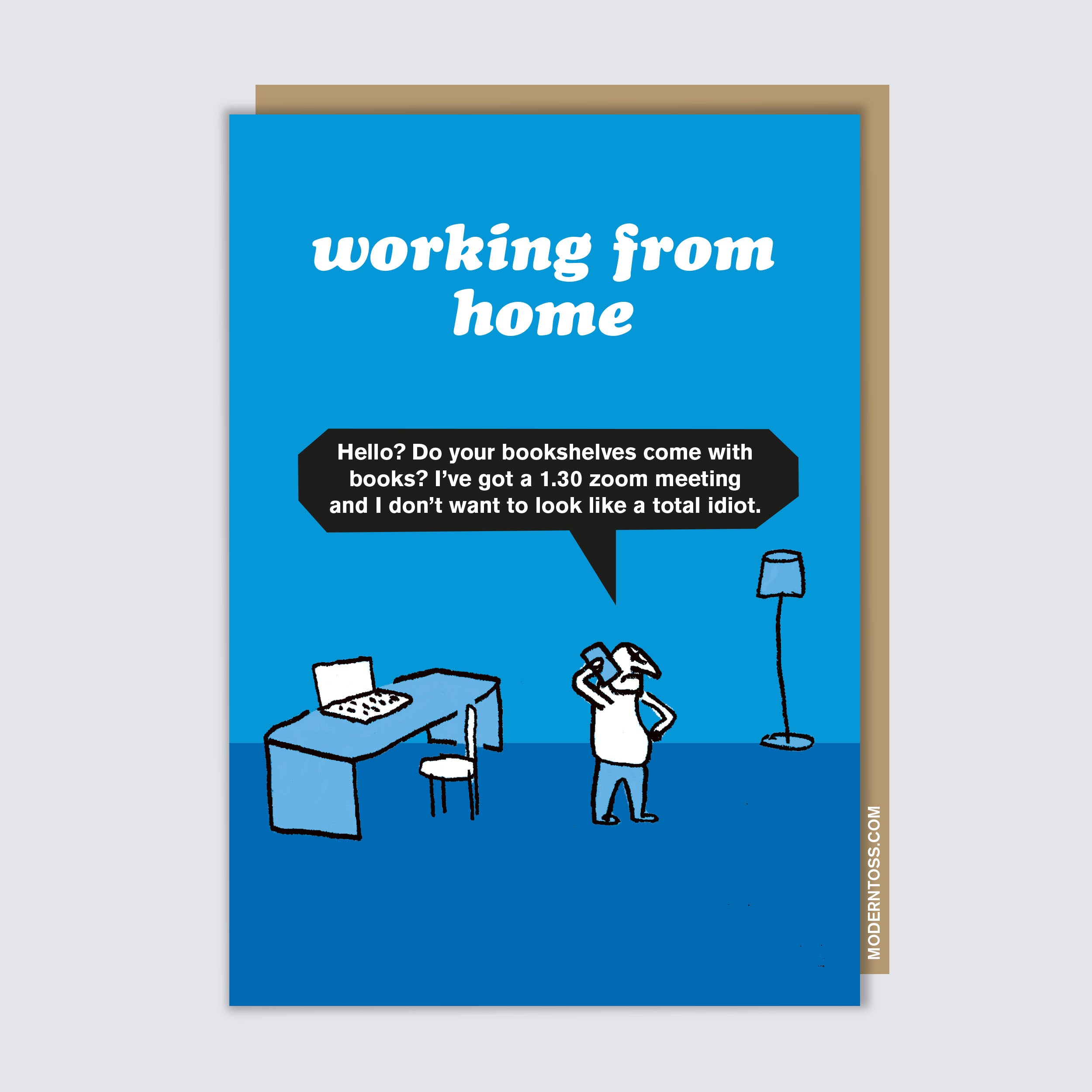 Working From Home Bookshelves Card