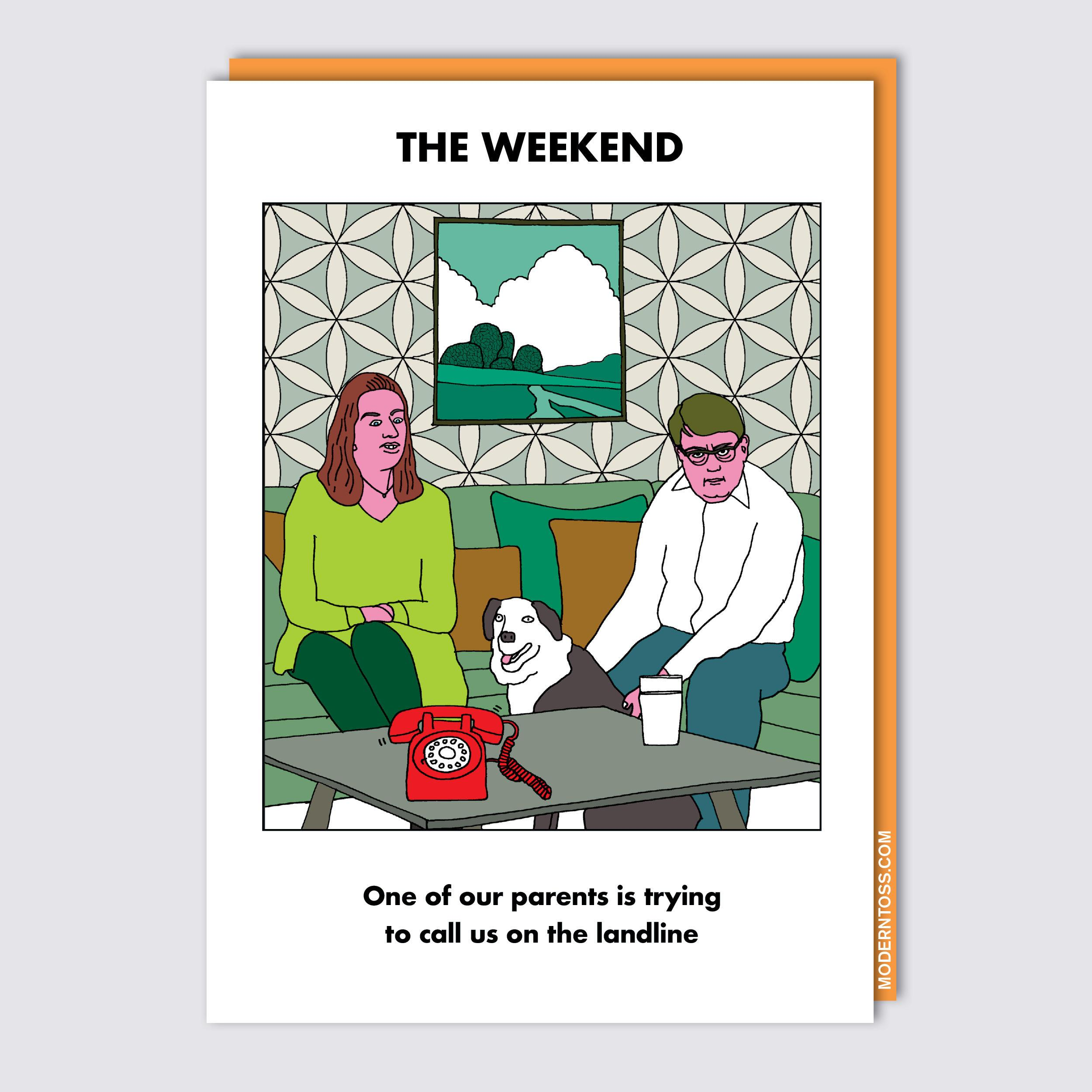 Weekend Parents on Landline Card