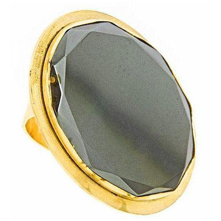 Gold and grey gemstone statement/cocktail ring