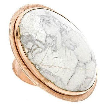 PAOLA (2): White Howlite Chunky Statement Ring